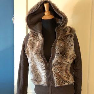 Miss Me juniors reversible zip up faux fur jacket